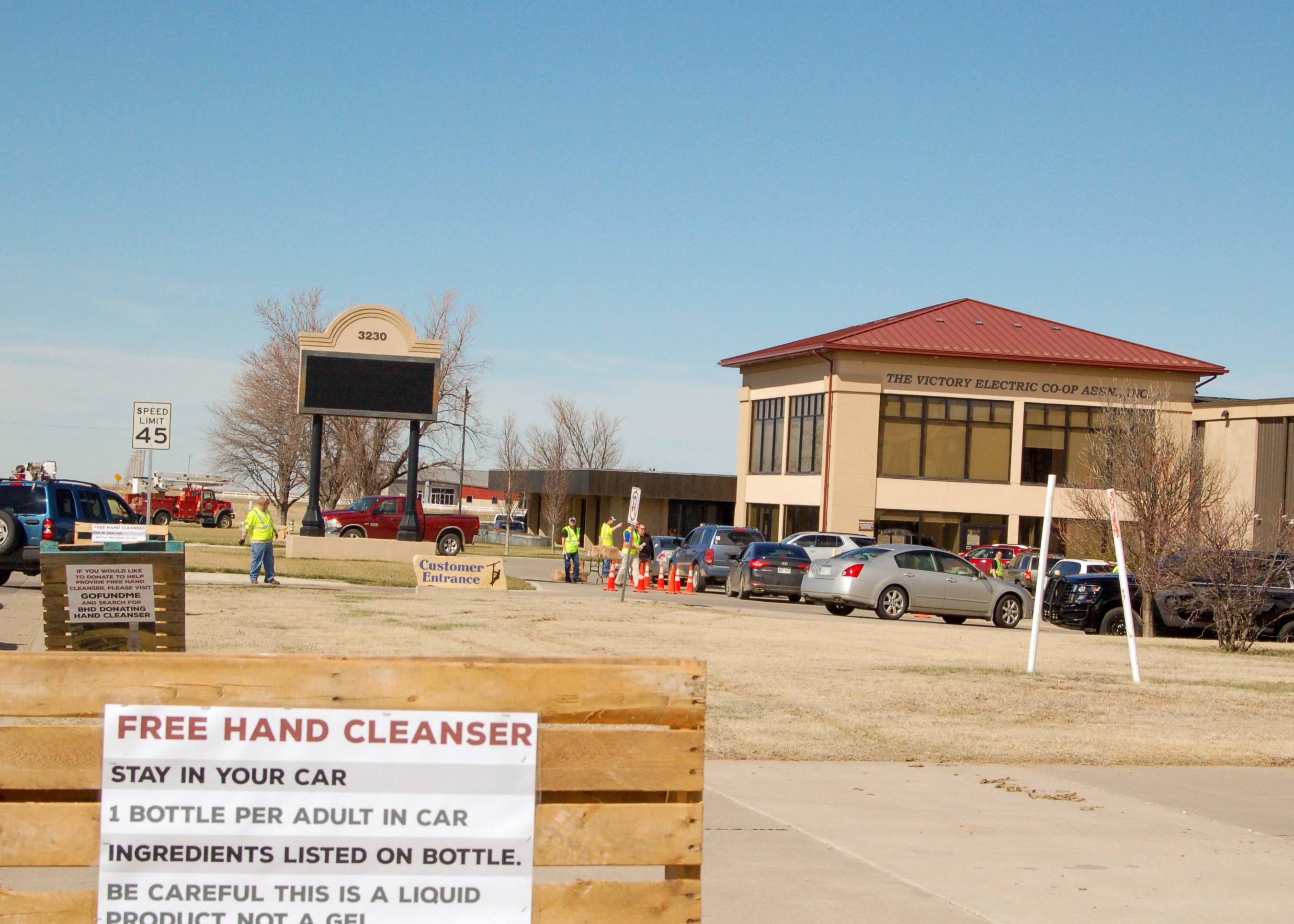 Free hand sanitizer at Victory Electric Cooperative